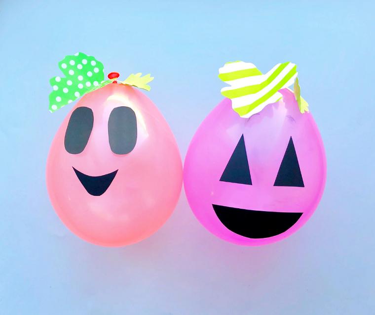 Immagini di zucche di Halloween, palloncini colorati, decorazioni palloncini con faccine