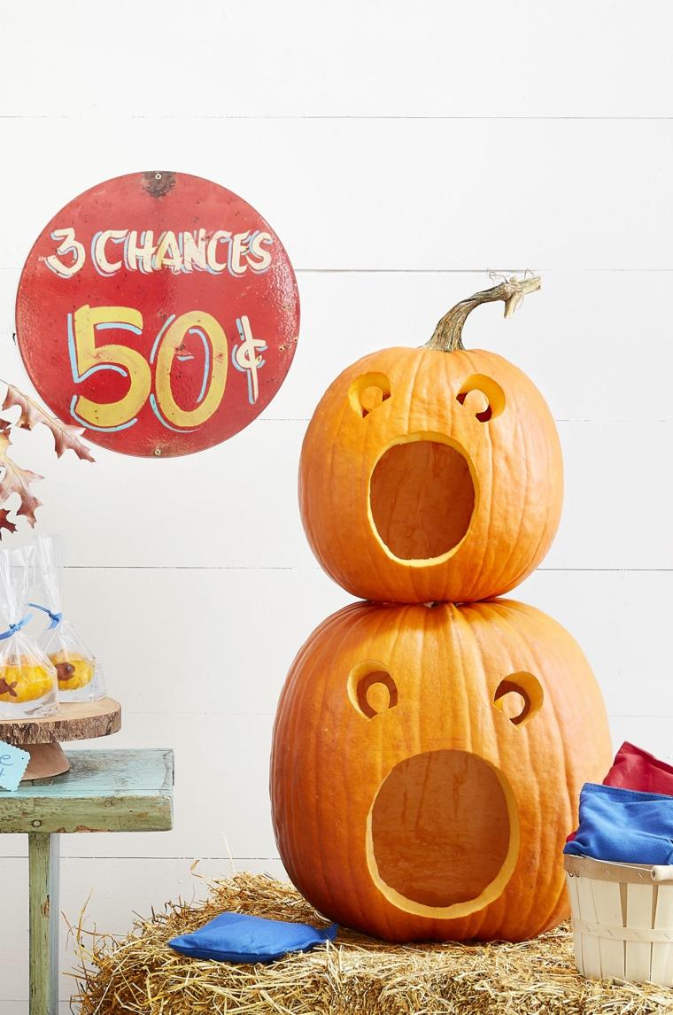 Come intagliare la zucca, Jack O Lantern, decorazioni per Halloween, balla di fieno