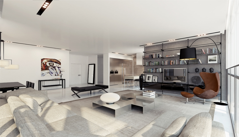 soggiorno contemporaneo decorazione moderna mesole pieni libri divano grigio