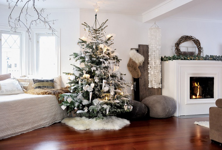 addobbi albero di Natale bianco