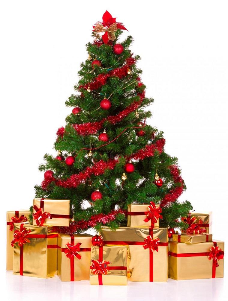 addobbi albero di Natale palle fiocchi rossi