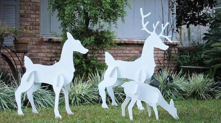 addobbi natalizi bianchi sculture cartone