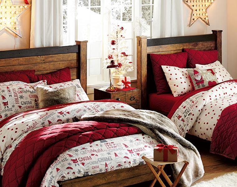 addobbi natalizi camera ragazze cuscini coperte motivi natalizi