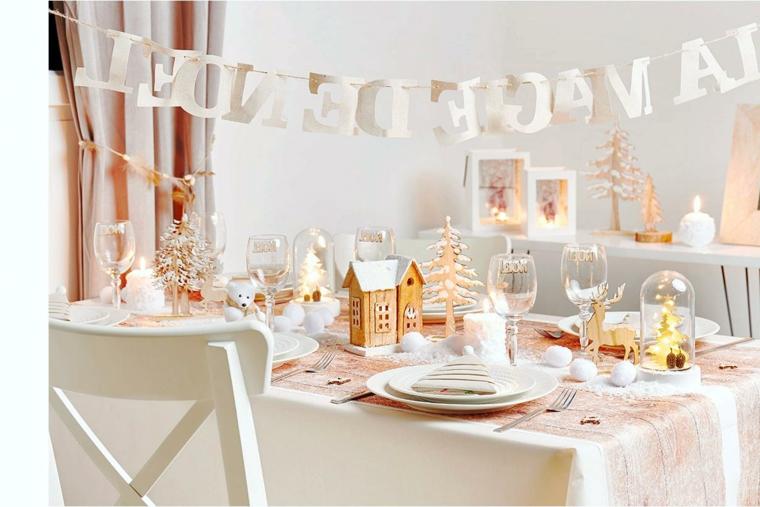 Addobbi natalizi fai da te 2019, ghirlanda con scritta di Natale, tavola apparecchiata
