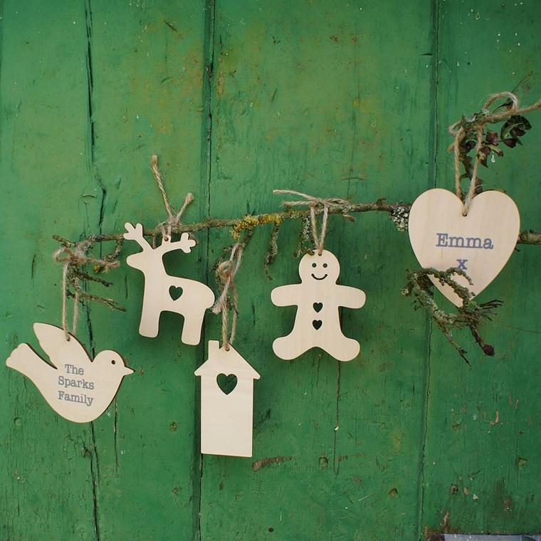 addobbi natalizi legno forme personalizzate nome