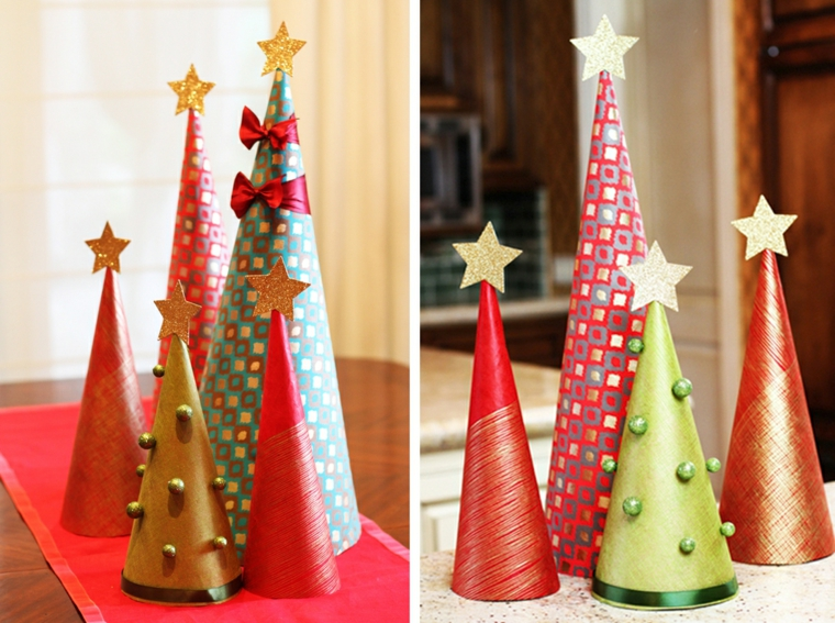 addobbi natalizi bambini alberi carta