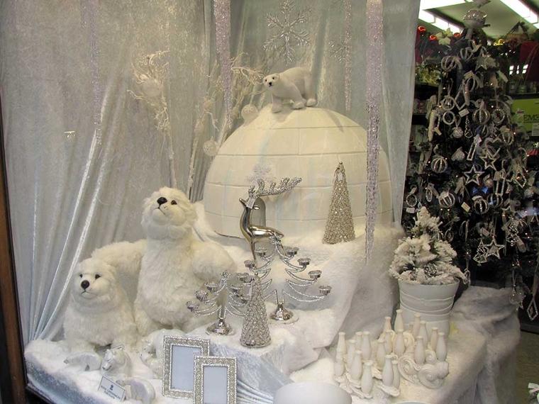 addobbi natalizi per negozi bianco