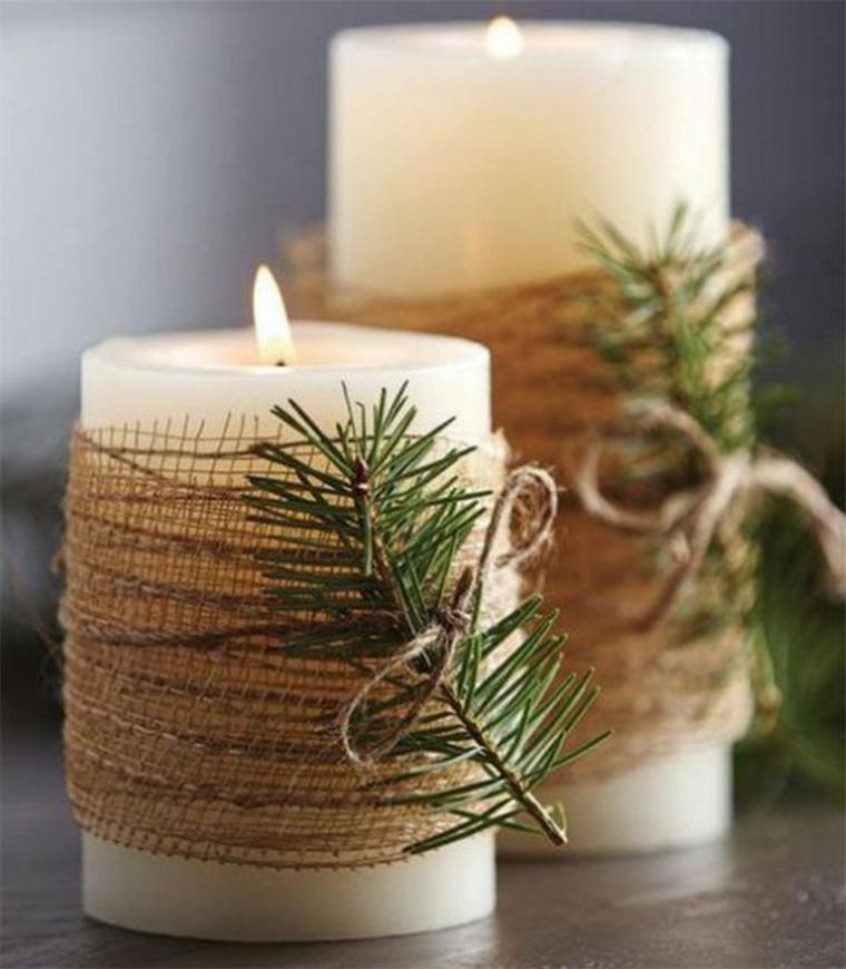 Candela con rametti verdi e canapa, addobbi natalizi fai da te 2019, candela con lume accesa
