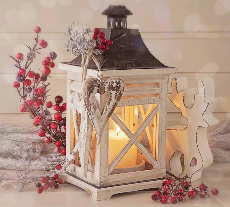 addobbi natalizi shabby chic lanterna vintage bacche rosse