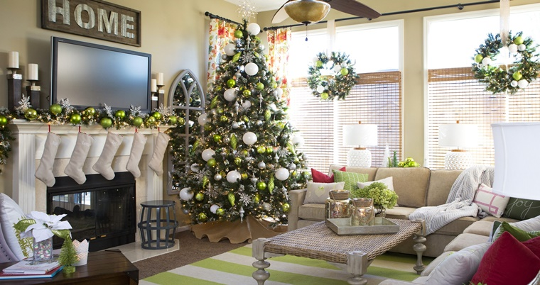 addobbi natalizi shabby chic soggiorno