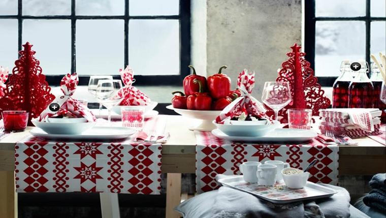 addobbi natalizi tavola allestita bianco rosso