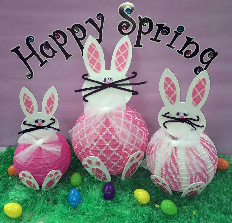 addobbi primavera conigli colorati carta