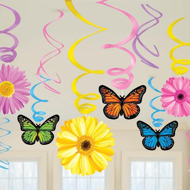 addobbi primavera farfalle fiori colorati