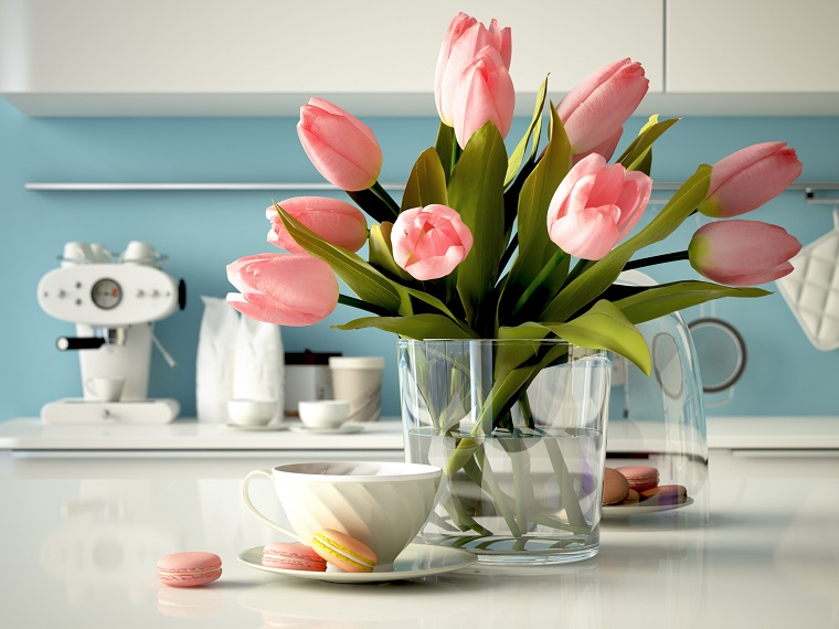 addobbi primavera idea tulipani rosa