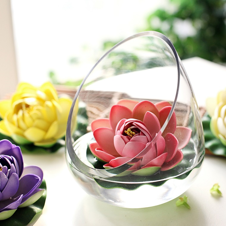 addobbi primavera ninfea rosa vaso vetro