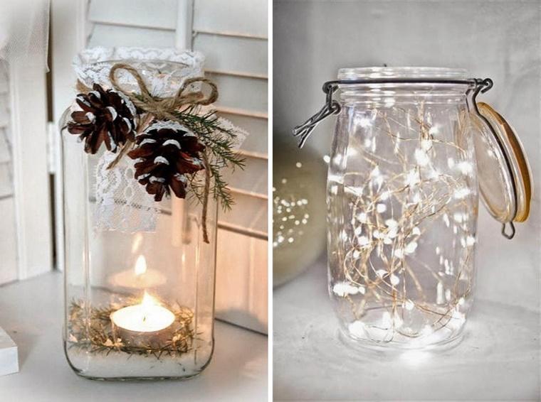 addobbi stagionali barattolo decorato pigne lucine candela