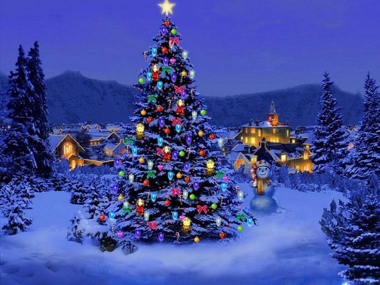 alberi di Natale addobbati luci colori diversi