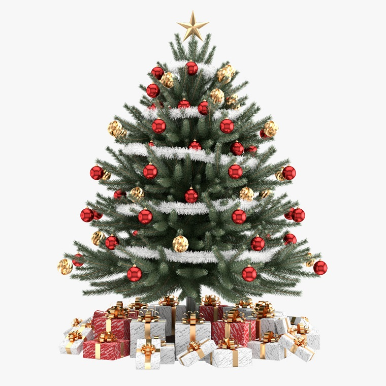 alberi di Natale addobbati rosso oro