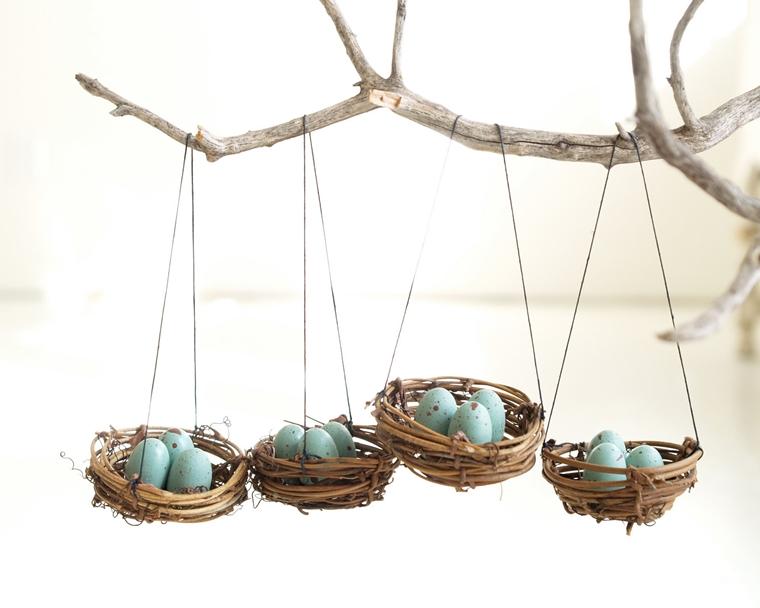 albero pasqua addobbato uova cestini