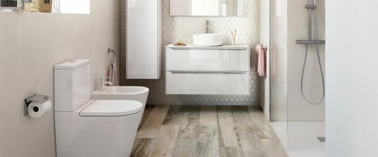 Mobili bagno moderni sospesi, pavimento in bagno di legno, armadietto bianco lucido