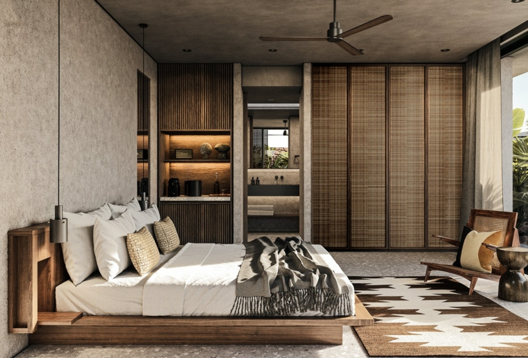 Zona notte con bagno padronale, idee per dipingere stanza da letto, parete e soffitto grigio