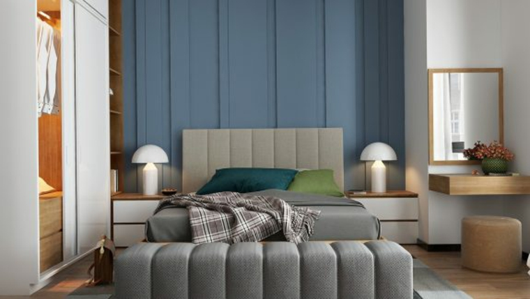 Camere matrimoniali moderne, parete di legno blu, armadio con porte scorrevoli, comodi di legno
