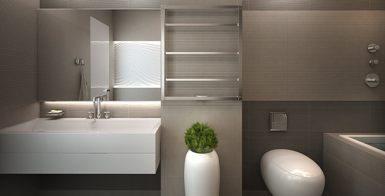 arredamento bagno design minimal pianta decorativa