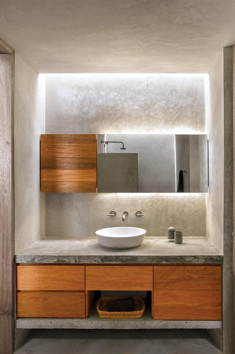 arredamento bagno moderno calcestruzzo legno