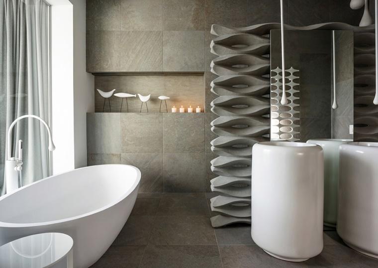 arredamento bagno stile minimal vasca forma arrotondata