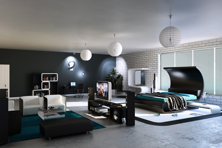 arredamento camera da letto forme geometriche