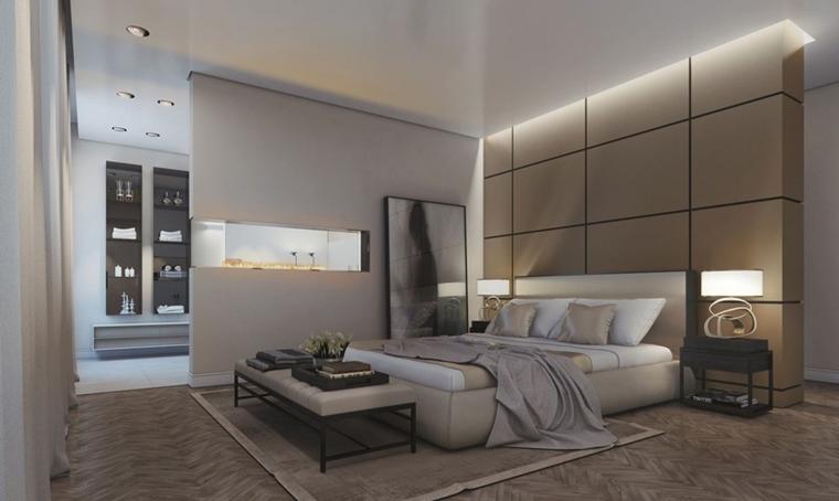 arredamento camera da letto moderna stile illuminazione soffusa