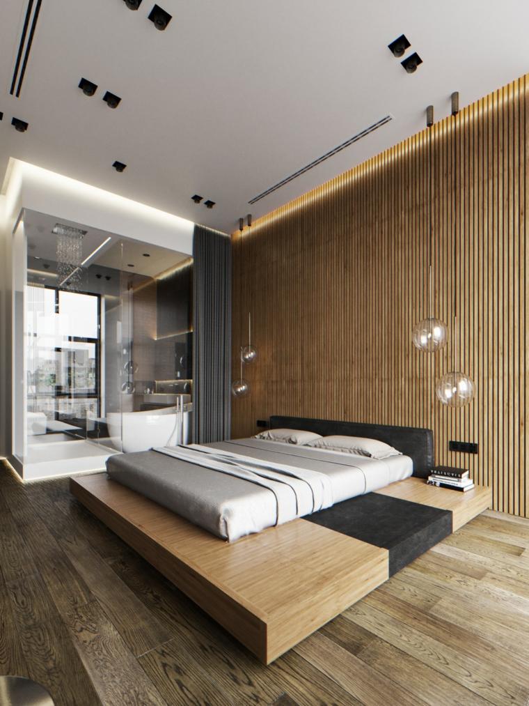 Stanza da letto con bagno padronale, parete con pannello in legno, arredare camera da letto piccola