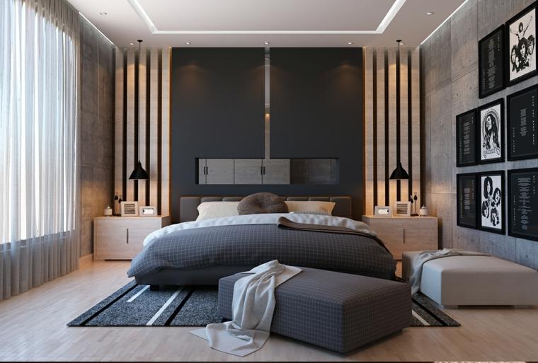 Parete con pannelli grigi, decorazione pareti con quadri, pavimento in legno, camere da letto matrimoniali moderne