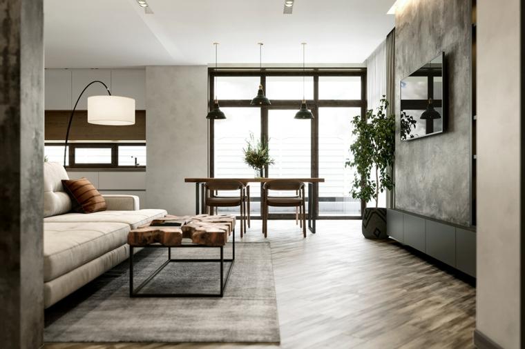 Salotto moderno, open space sala da pranzo e soggiorno, tavolino in legno grezzo