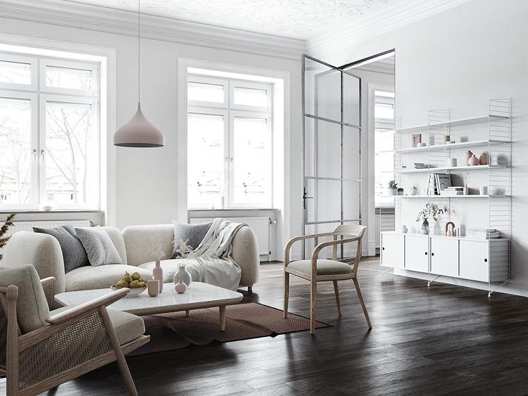 Come arredare un salotto, soggiorno con pareti di colore bianco, divano in tessuto bianco
