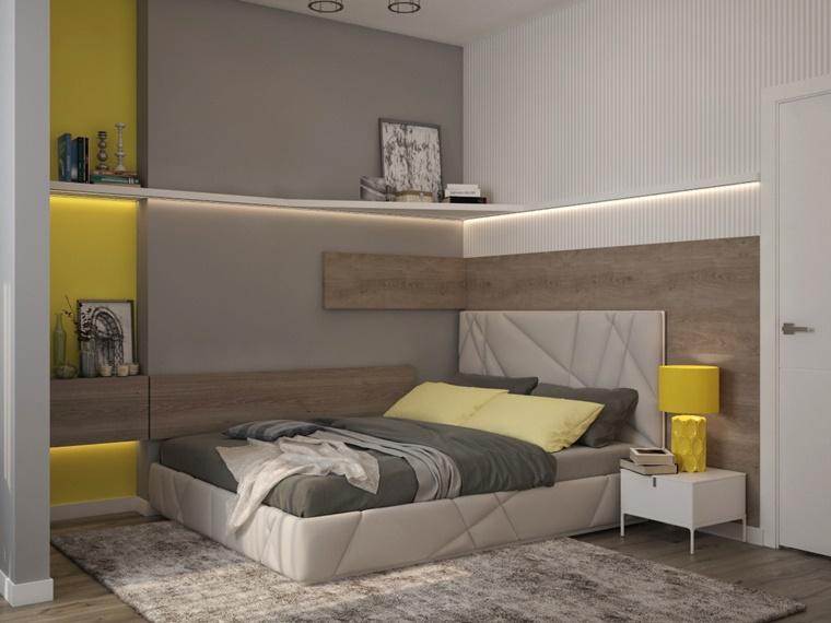 arredamento moderno letto grigio lampada gialla