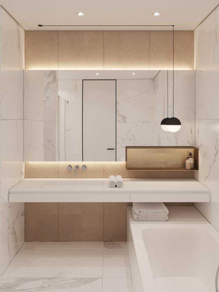 Rivestimenti bagni moderni immagini, mobile lavabo incorporato, vasca da bagno da parete