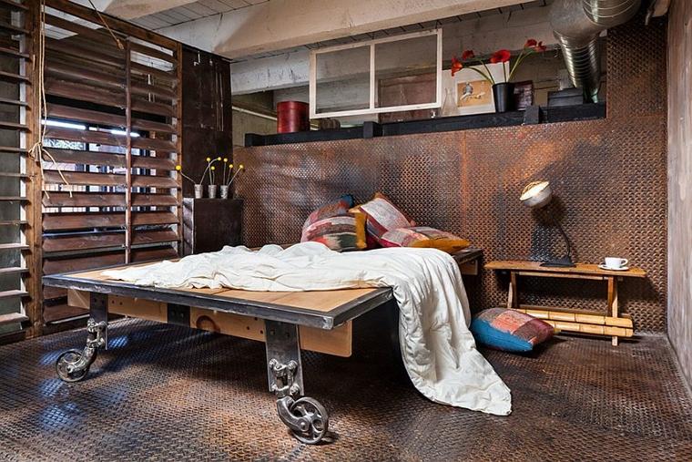 arredamento moderno stile industriale camera letto