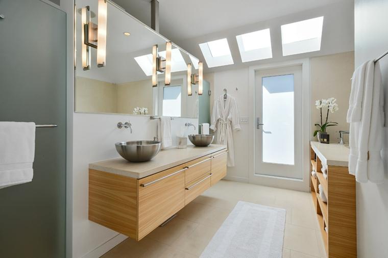 Mobile per lavabo da appoggio, mobile bagno di legno, specchio con lampade