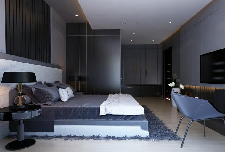 Progettare camera da letto, pareti di colore grigio, faretti sul soffitto, zona notte con scrivania