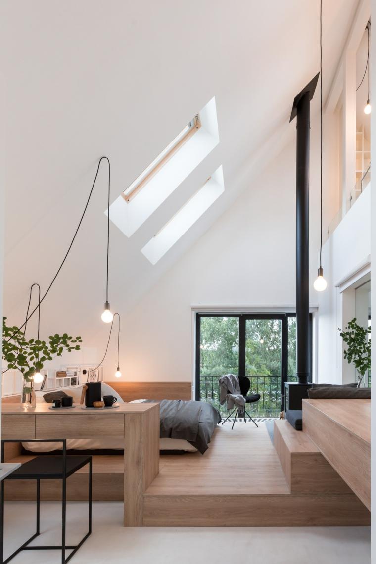 Camere da letto moderne bianche, stanza da letto in mansarda, soffitto in pendenza