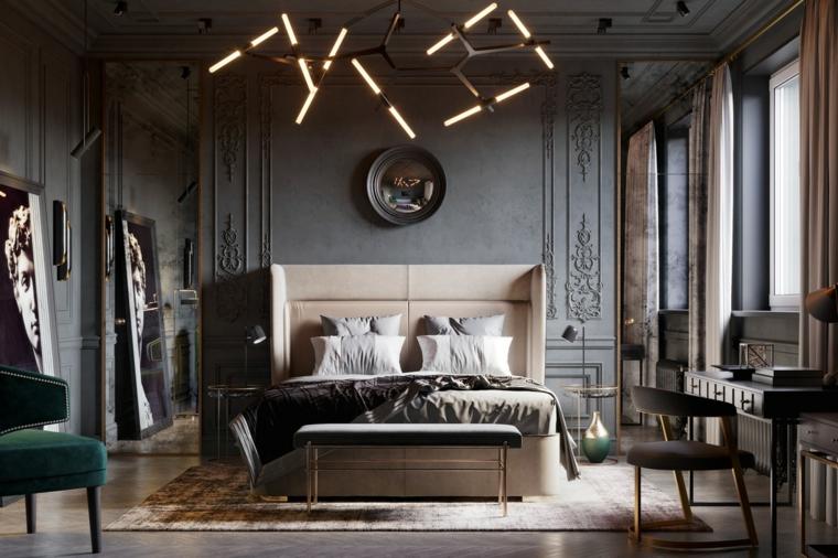 Idee per dipingere stanza da letto, lampadario con rami, pareti con ornamenti, pavimento in legno chiaro