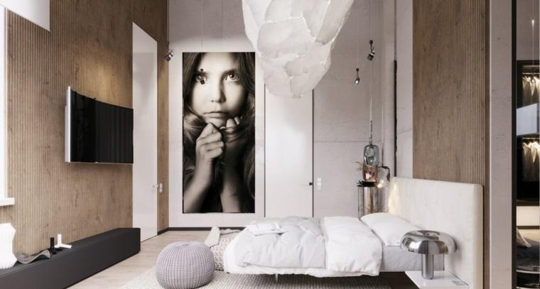 Camere matrimoniali moderne, parete in legno, lampadario bianco, decorazione con fotografia grande