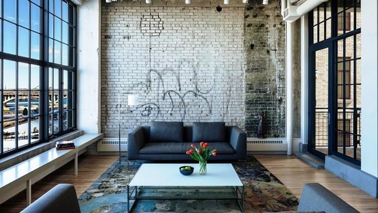 arredare casa salotto stile industriale decorazione parete diy