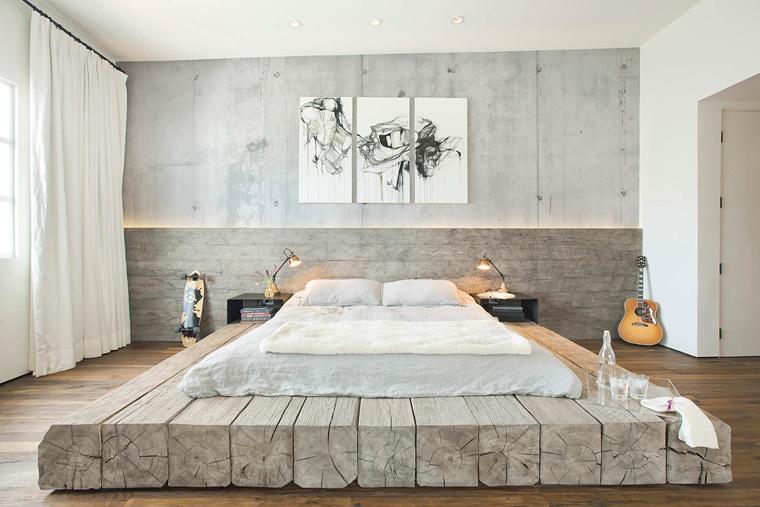 arredare casa stile giapponese travi base letto
