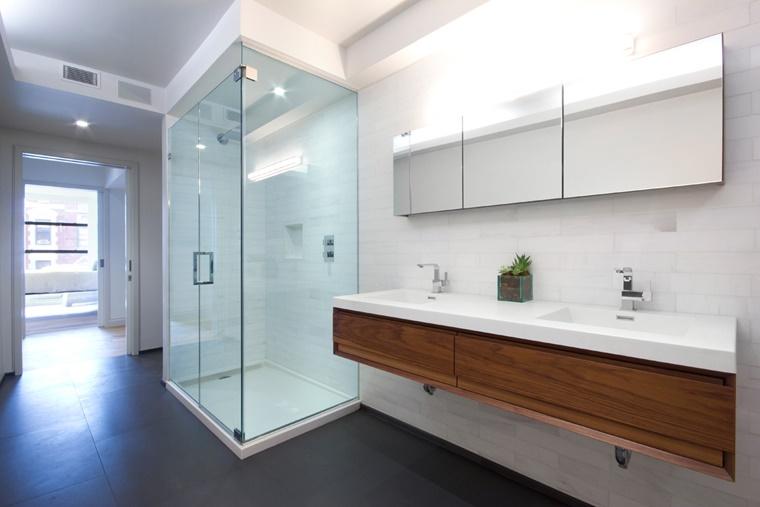 arredare il bagno design minimal inserti legno