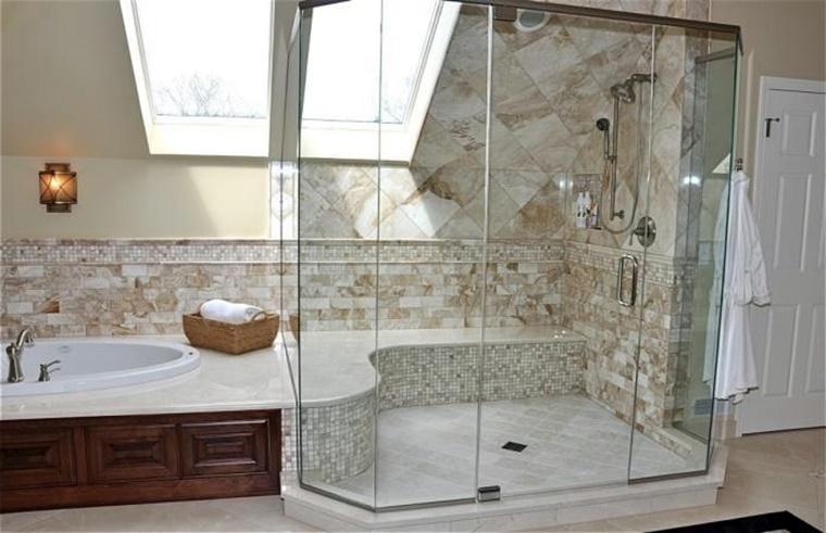 arredare il bagno vasca doccia pietra legno