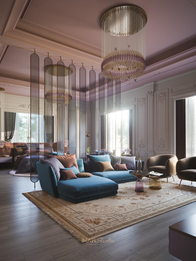 Pareti colorate soggiorno esempi, arredamento con un divano angolare di colore blu
