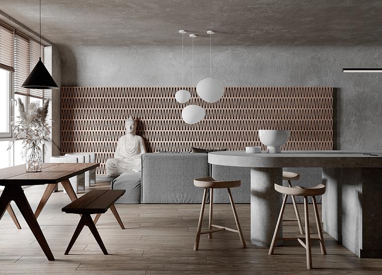 Come arredare sala e salotto insieme, divano angolare colore grigio, tavolo da pranzo con panchina di legno