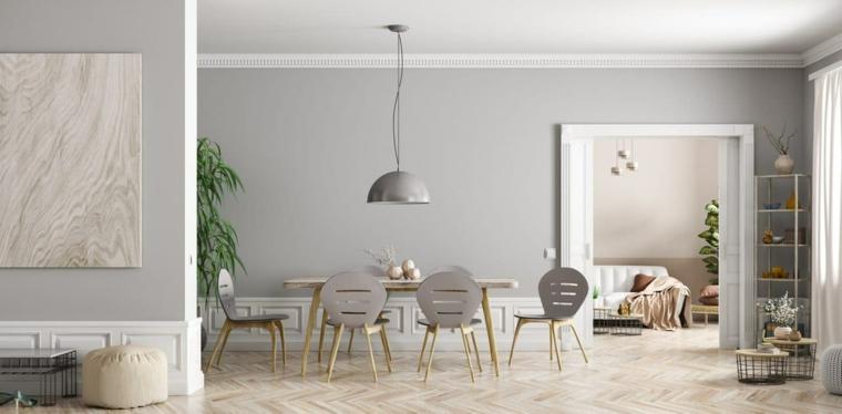 arredare salotto e sala da pranzo insieme tavolo da pranzo lungo con sedie abbinate